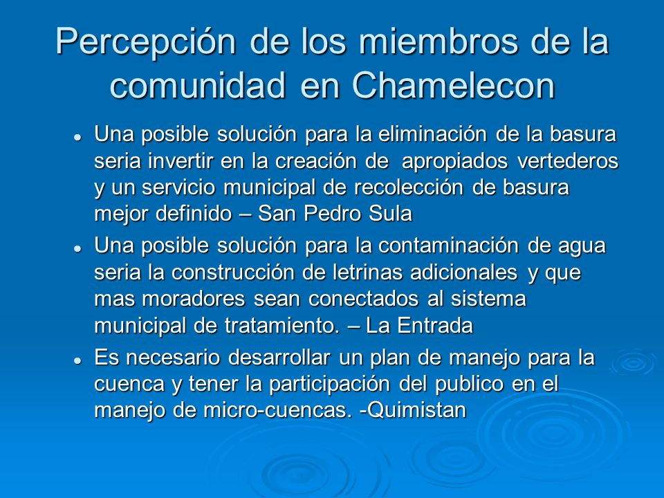 Percepción de los miembros de la comunidad en Chamelecon
