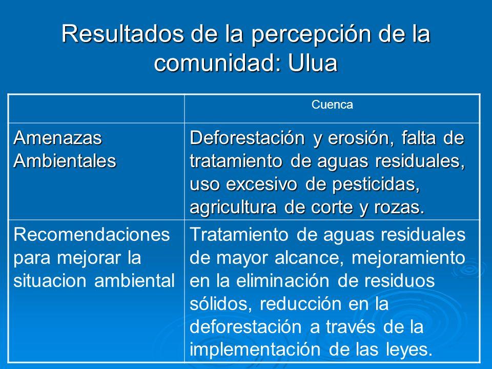 Resultados de la percepción de la comunidad: Ulua