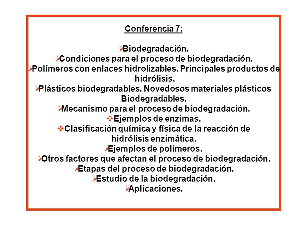 Condiciones para el proceso de biodegradación.