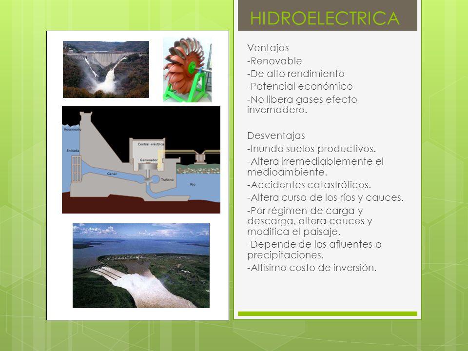 HIDROELECTRICA Ventajas -Renovable -De alto rendimiento
