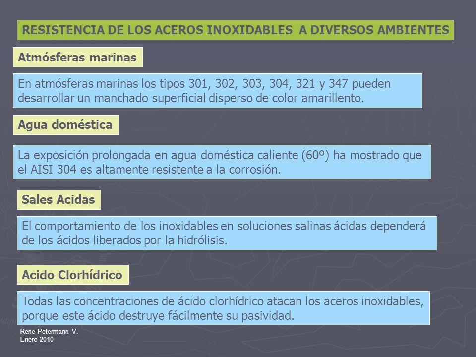 RESISTENCIA DE LOS ACEROS INOXIDABLES A DIVERSOS AMBIENTES