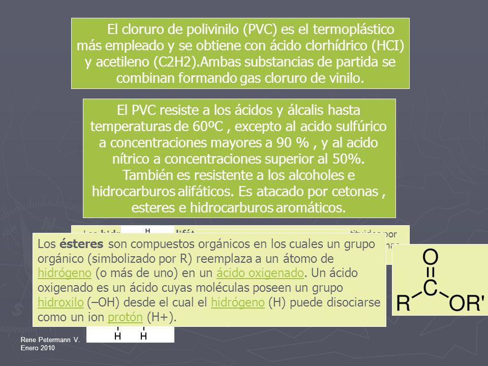 El cloruro de polivinilo (PVC) es el termoplástico más empleado y se obtiene con ácido clorhídrico (HCI) y acetileno (C2H2).Ambas substancias de partida se combinan formando gas cloruro de vinilo.