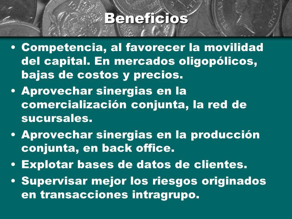 Beneficios Competencia, al favorecer la movilidad del capital. En mercados oligopólicos, bajas de costos y precios.