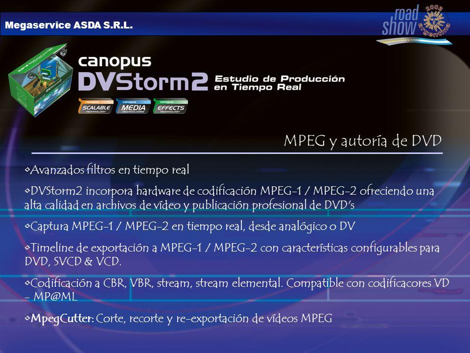 MPEG y autoría de DVD Avanzados filtros en tiempo real