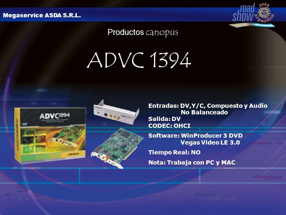ADVC 1394 Productos canopus Megaservice ASDA S.R.L.