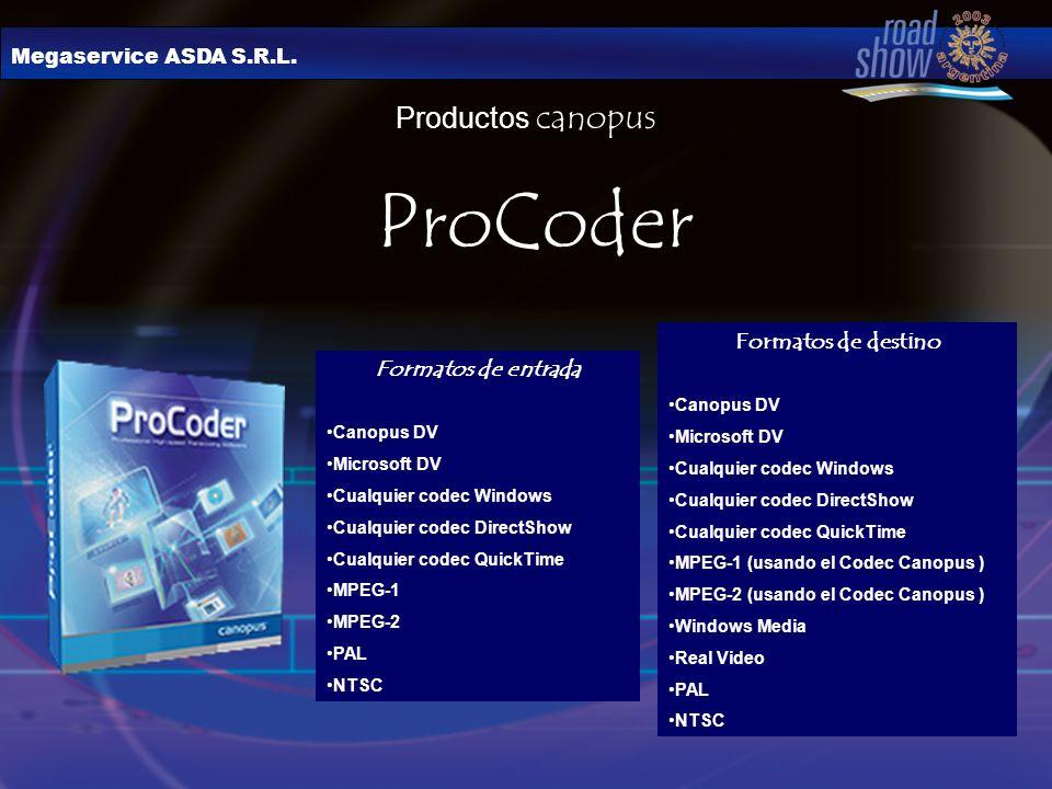 ProCoder Productos canopus Formatos de destino Formatos de entrada