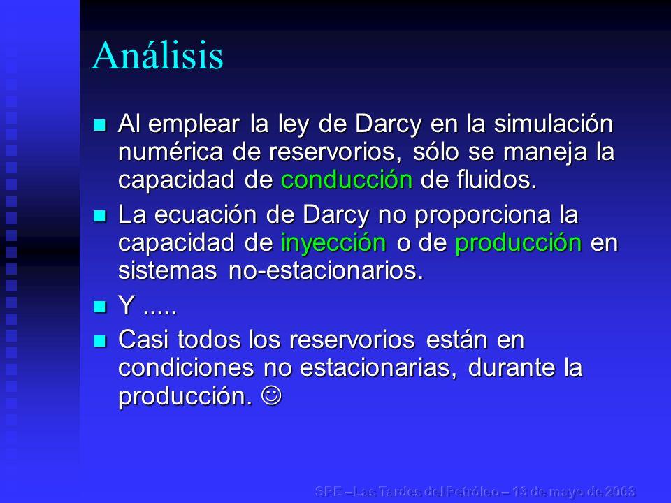 Análisis Al emplear la ley de Darcy en la simulación numérica de reservorios, sólo se maneja la capacidad de conducción de fluidos.