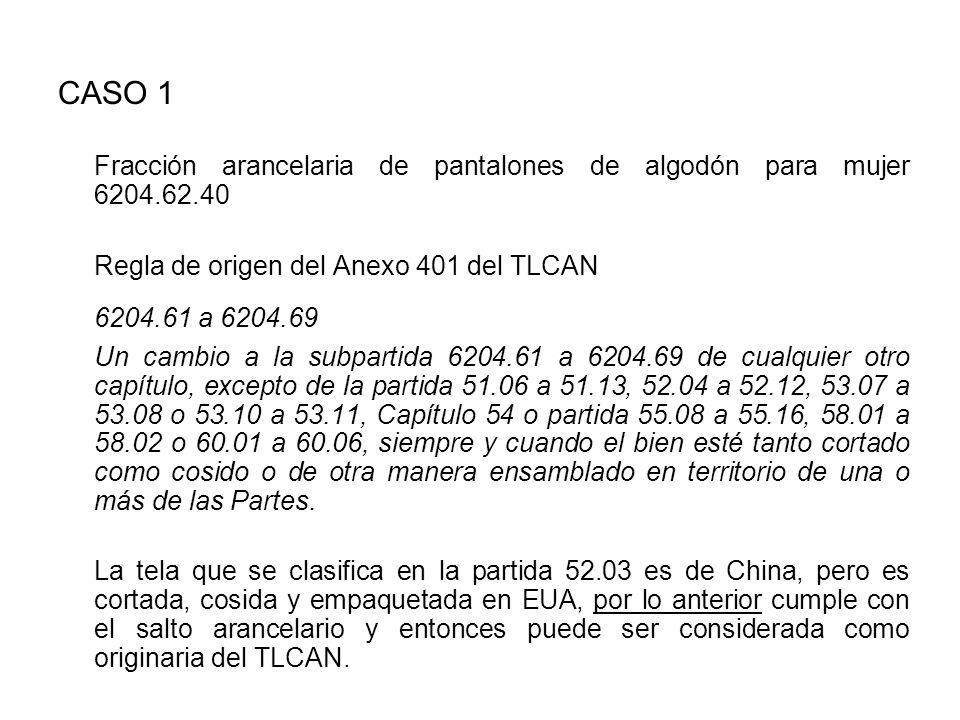 CASO 1 Fracción arancelaria de pantalones de algodón para mujer 6204.62.40. Regla de origen del Anexo 401 del TLCAN.