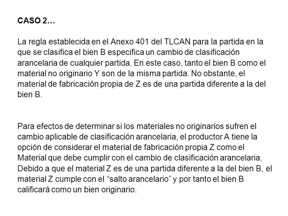 CASO 2… La regla establecida en el Anexo 401 del TLCAN para la partida en la. que se clasifica el bien B especifica un cambio de clasificación.