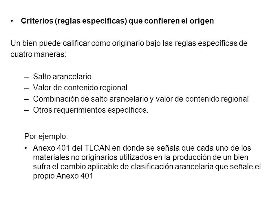 Criterios (reglas específicas) que confieren el origen