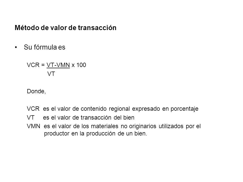 Método de valor de transacción Su fórmula es