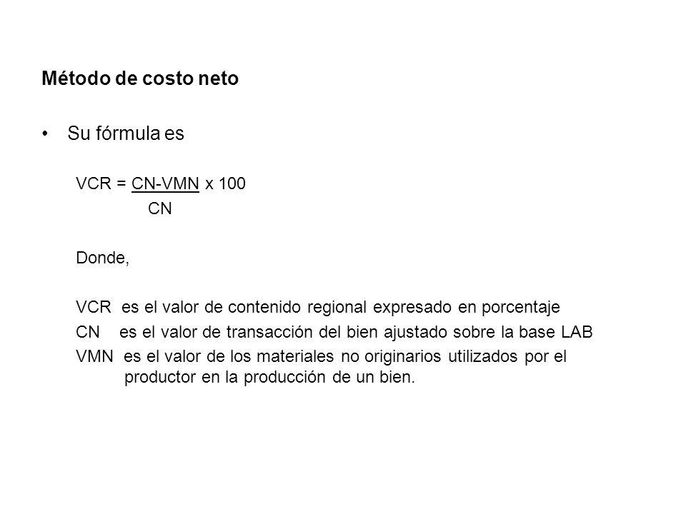 Método de costo neto Su fórmula es VCR = CN-VMN x 100 CN Donde,