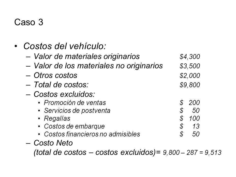 Caso 3 Costos del vehículo: Valor de materiales originarios $4,300