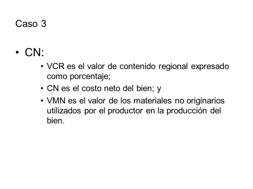Caso 3 CN: VCR es el valor de contenido regional expresado como porcentaje; CN es el costo neto del bien; y.