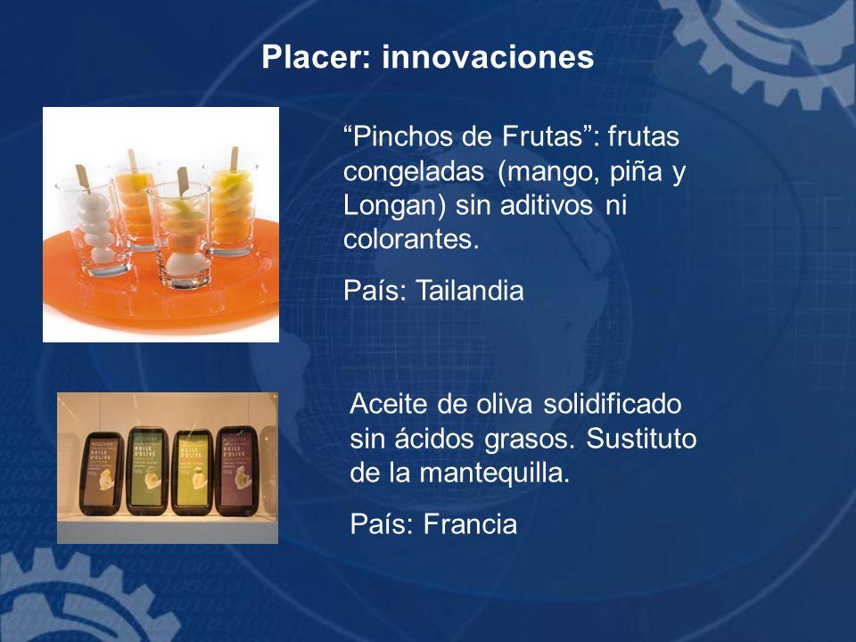 Placer: innovaciones Pinchos de Frutas : frutas congeladas (mango, piña y Longan) sin aditivos ni colorantes.