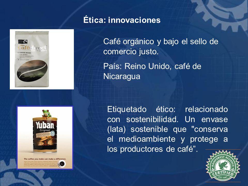 Ética: innovaciones Café orgánico y bajo el sello de comercio justo. País: Reino Unido, café de Nicaragua.