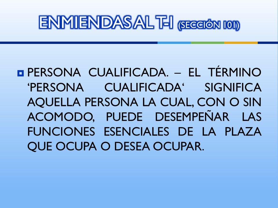 ENMIENDAS AL T-I (SECCIÓN 101)