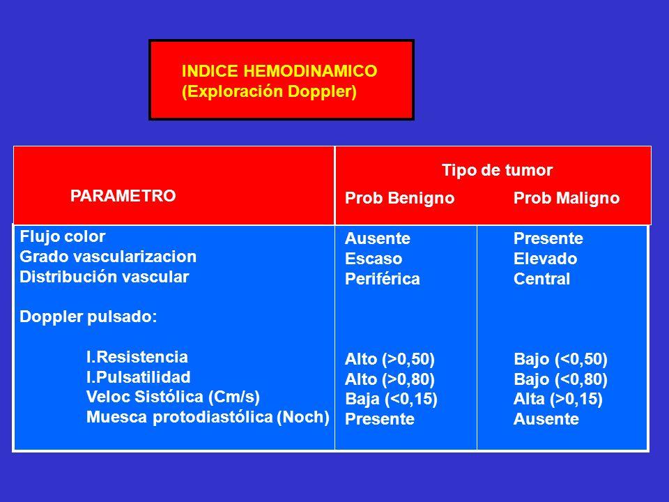 INDICE HEMODINAMICO (Exploración Doppler) Tipo de tumor. PARAMETRO. Flujo color. Grado vascularizacion.
