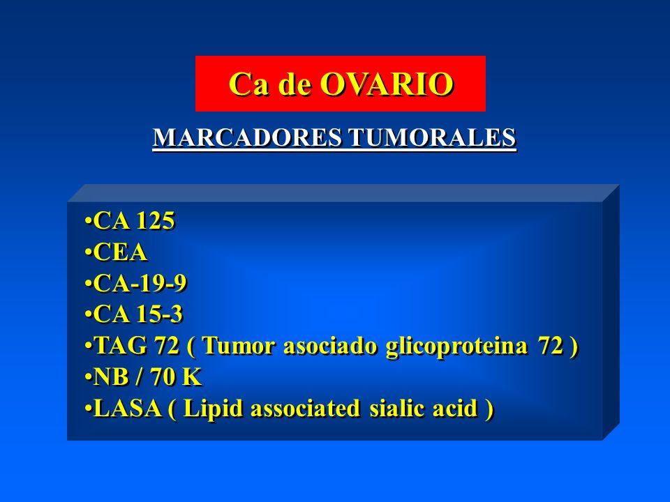 Ca de OVARIO MARCADORES TUMORALES CA 125 CEA CA-19-9 CA 15-3