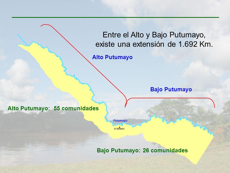 Entre el Alto y Bajo Putumayo, existe una extensión de 1.692 Km.
