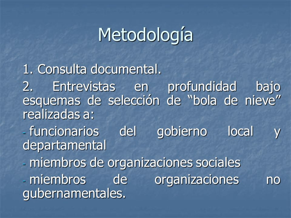 Metodología 1. Consulta documental.