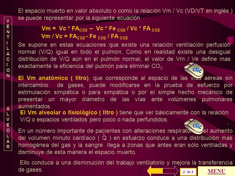 El espacio muerto en valor absoluto o como la relación Vm / Vc (VD/VT en inglés ) se puede representar por la siguiente ecuación