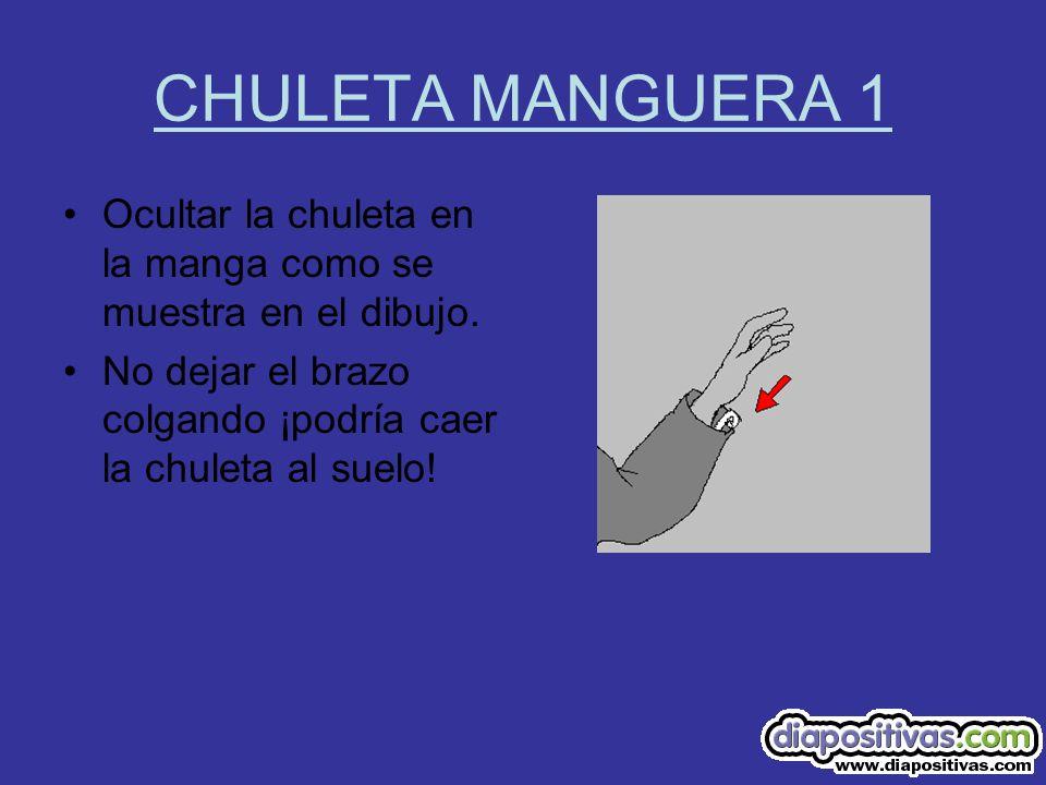 CHULETA MANGUERA 1 Ocultar la chuleta en la manga como se muestra en el dibujo.