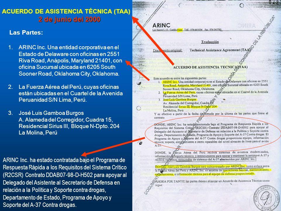 2 de junio del 2000 ACUERDO DE ASISTENCIA TÉCNICA (TAA) Las Partes: