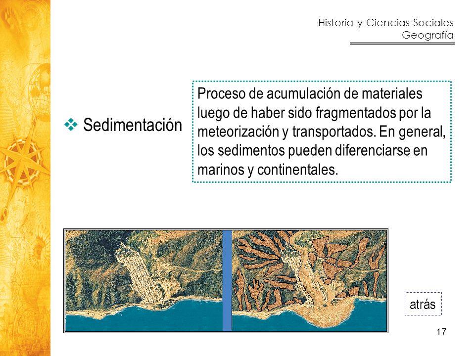 Proceso de acumulación de materiales luego de haber sido fragmentados por la meteorización y transportados. En general, los sedimentos pueden diferenciarse en marinos y continentales.