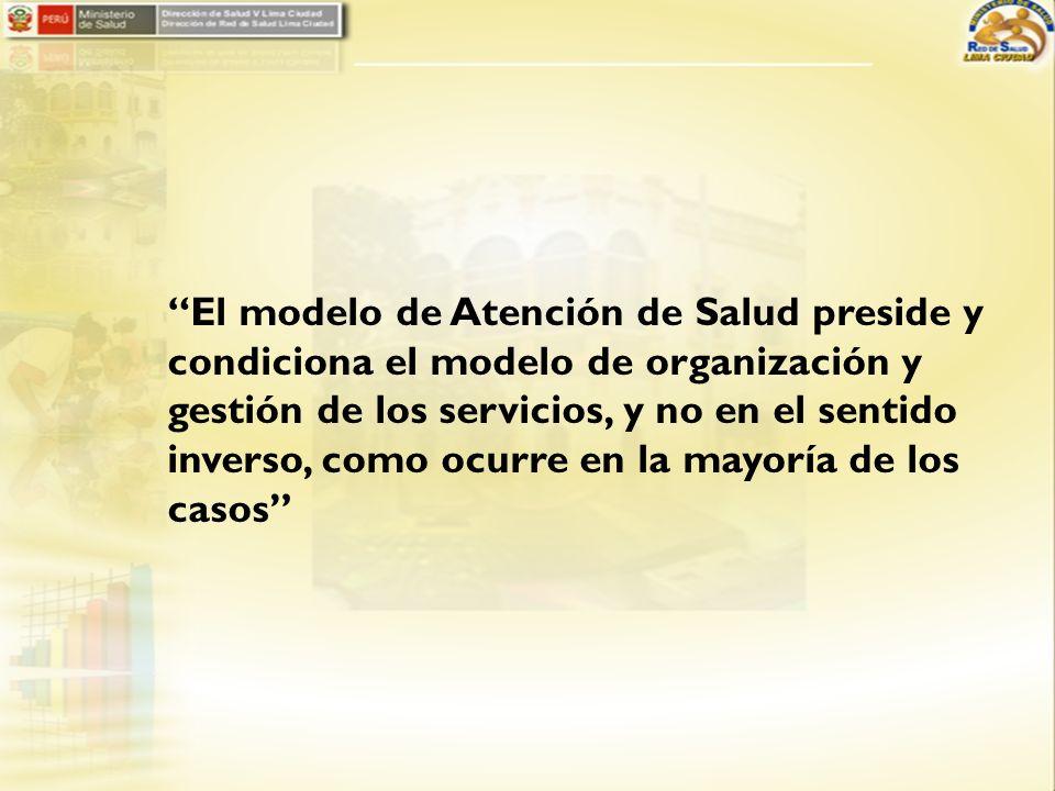 El modelo de Atención de Salud preside y condiciona el modelo de organización y gestión de los servicios, y no en el sentido inverso, como ocurre en la mayoría de los casos