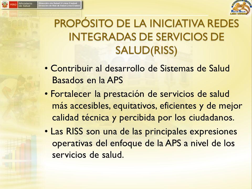 PROPÓSITO DE LA INICIATIVA REDES INTEGRADAS DE SERVICIOS DE SALUD(RISS)