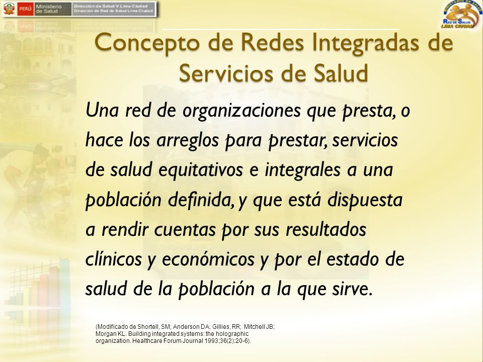 Concepto de Redes Integradas de Servicios de Salud