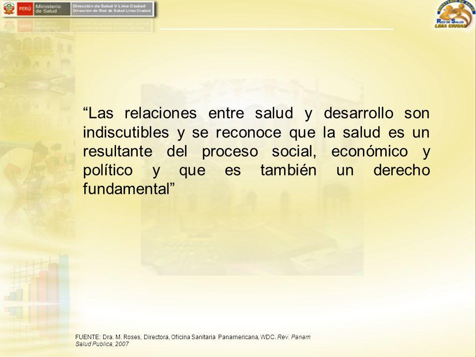Las relaciones entre salud y desarrollo son indiscutibles y se reconoce que la salud es un resultante del proceso social, económico y político y que es también un derecho fundamental