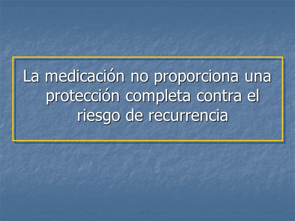La medicación no proporciona una protección completa contra el riesgo de recurrencia