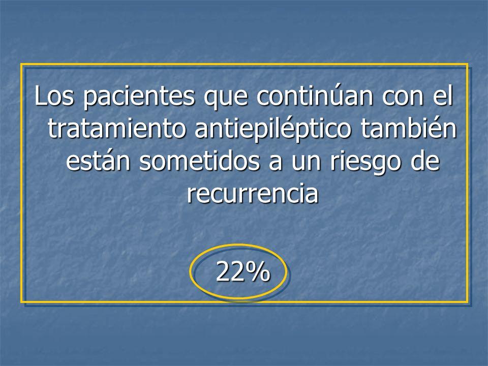 Los pacientes que continúan con el tratamiento antiepiléptico también están sometidos a un riesgo de recurrencia