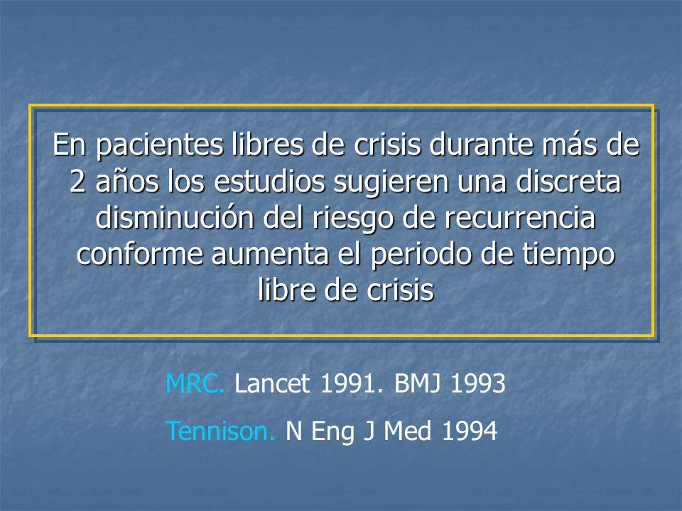 En pacientes libres de crisis durante más de 2 años los estudios sugieren una discreta disminución del riesgo de recurrencia conforme aumenta el periodo de tiempo libre de crisis