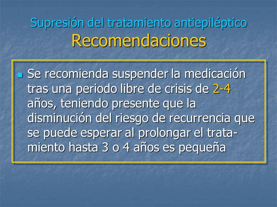 Supresión del tratamiento antiepiléptico Recomendaciones