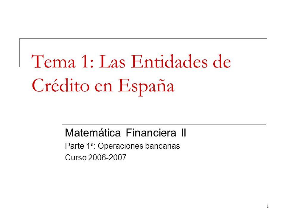 Tema 1: Las Entidades de Crédito en España