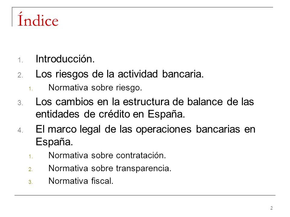Índice Introducción. Los riesgos de la actividad bancaria.