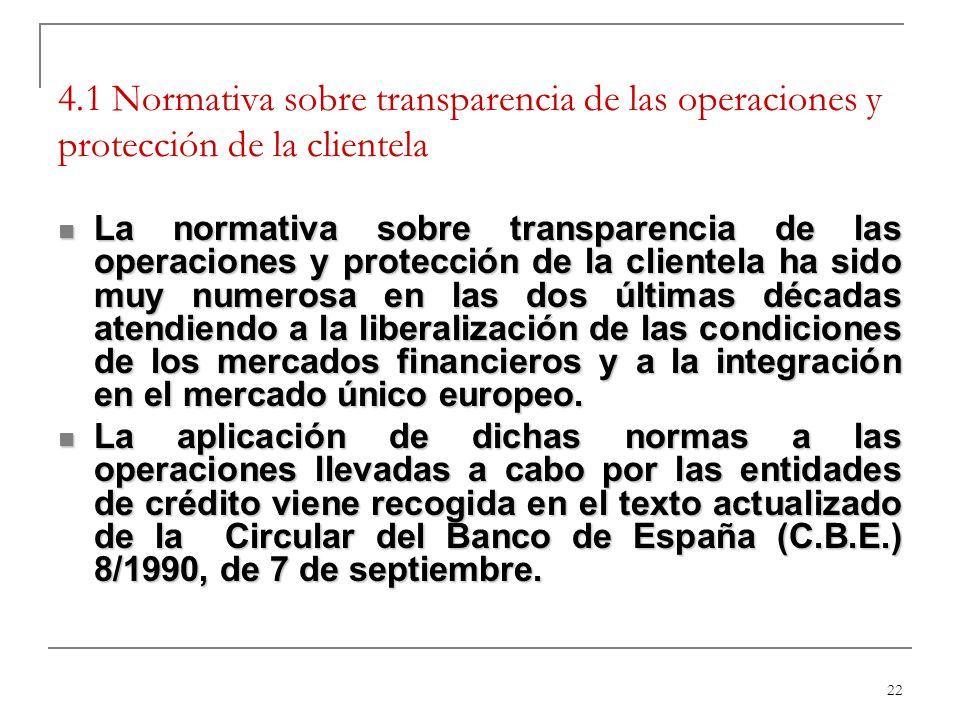 4.1 Normativa sobre transparencia de las operaciones y protección de la clientela