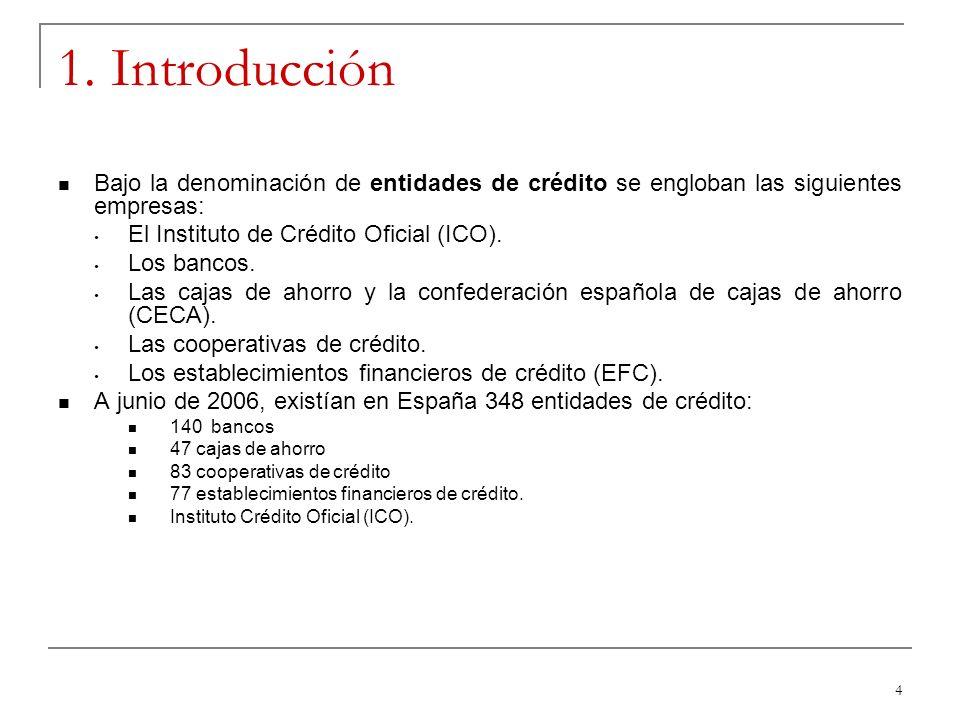 1. Introducción Bajo la denominación de entidades de crédito se engloban las siguientes empresas: El Instituto de Crédito Oficial (ICO).