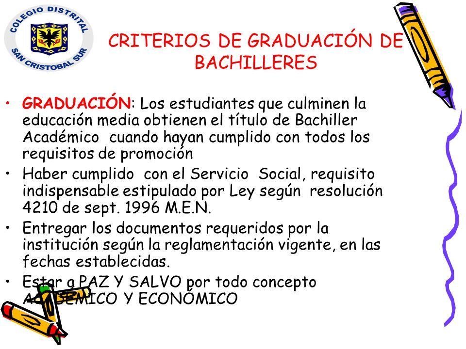 CRITERIOS DE GRADUACIÓN DE BACHILLERES