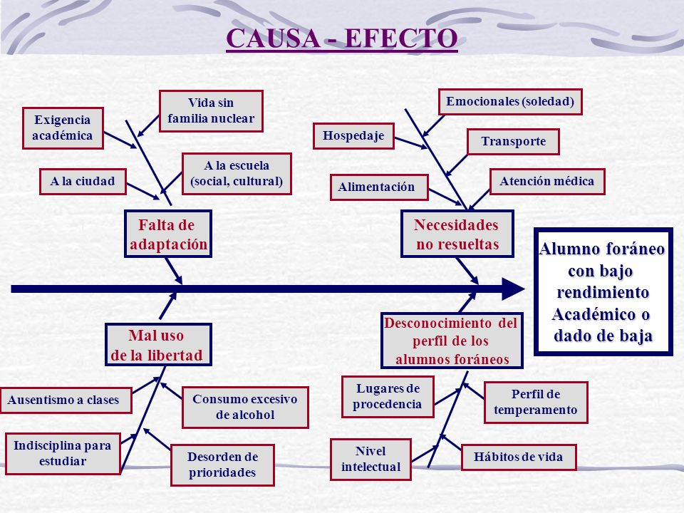 CAUSA - EFECTO Alumno foráneo con bajo rendimiento Académico o