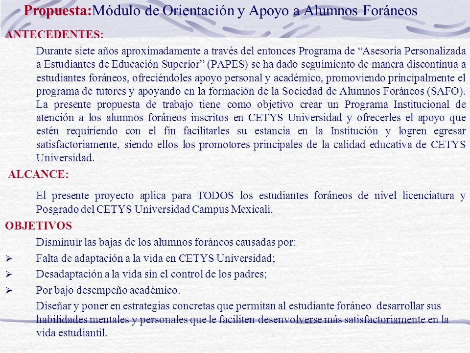 Propuesta:Módulo de Orientación y Apoyo a Alumnos Foráneos