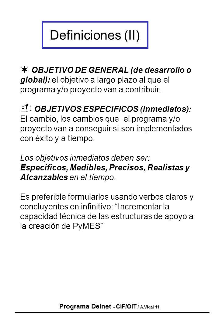 Programa Delnet - CIF/OIT / A.Vidal 11
