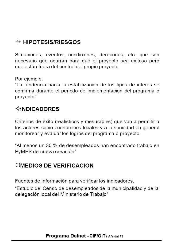 Programa Delnet - CIF/OIT / A.Vidal 13