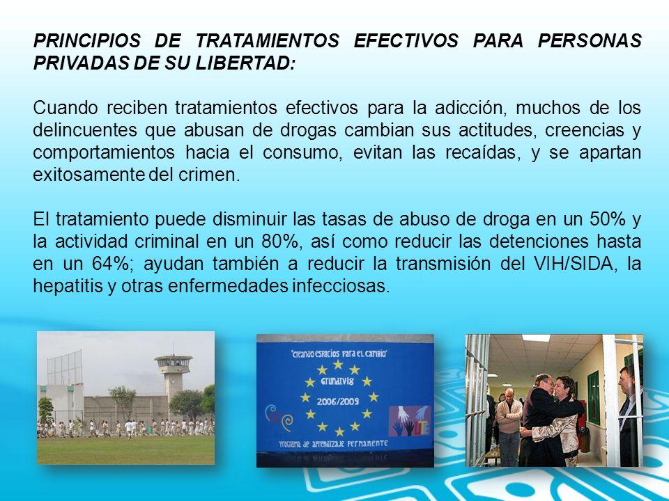 PRINCIPIOS DE TRATAMIENTOS EFECTIVOS PARA PERSONAS PRIVADAS DE SU LIBERTAD: