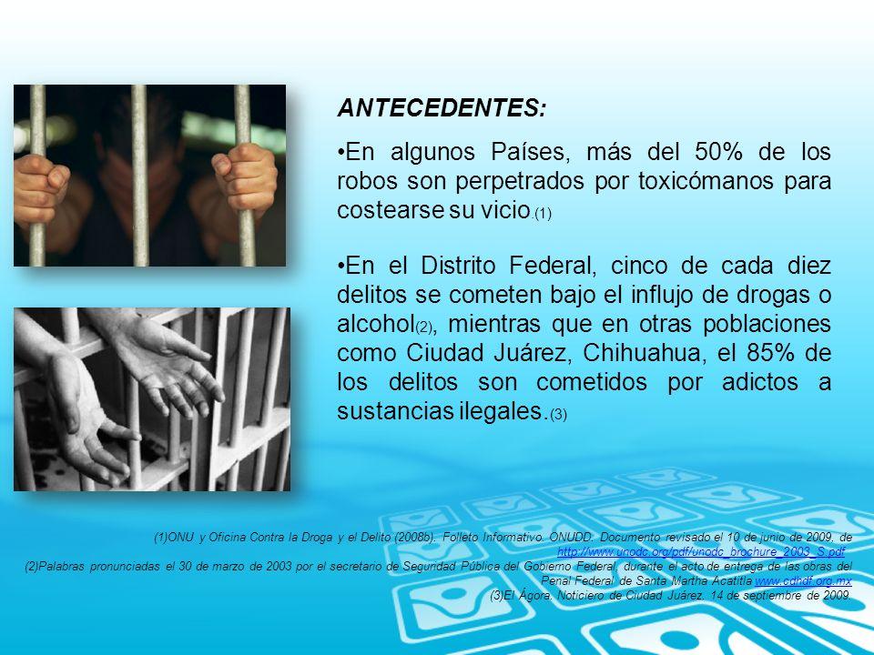 ANTECEDENTES: En algunos Países, más del 50% de los robos son perpetrados por toxicómanos para costearse su vicio.(1)