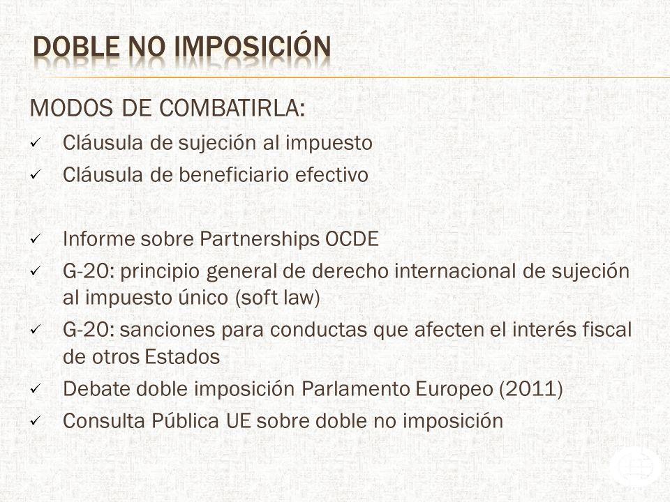doble no imposición MODOS DE COMBATIRLA: