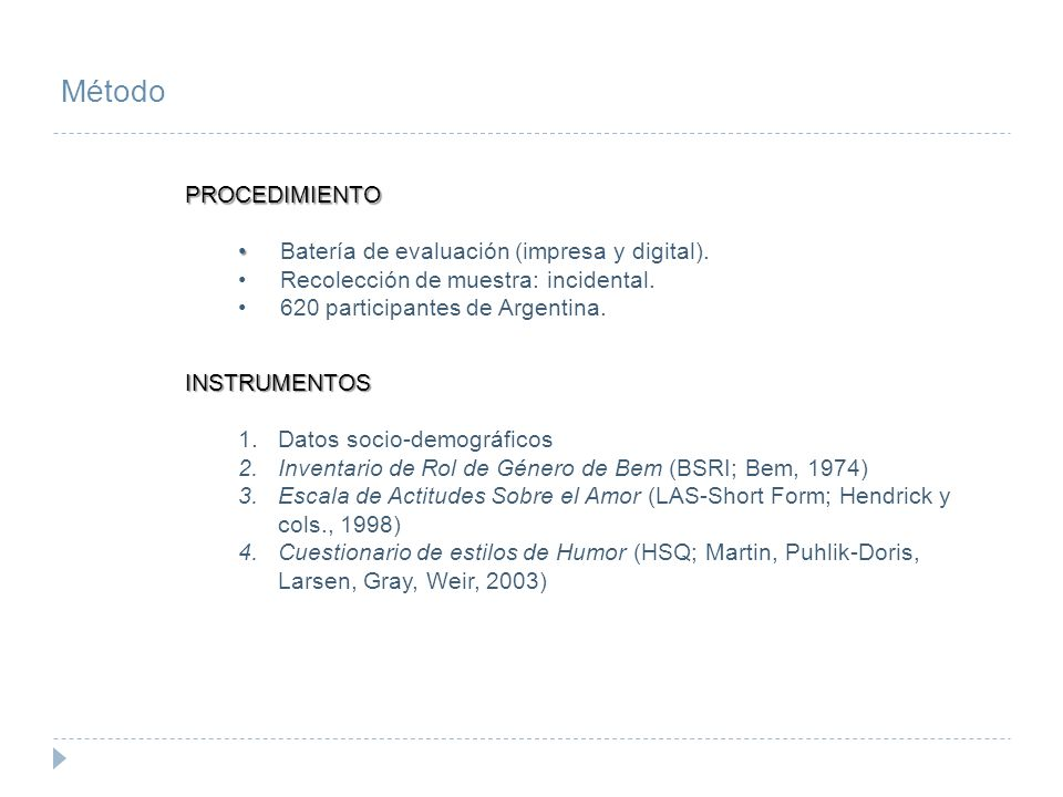 Método PROCEDIMIENTO Batería de evaluación (impresa y digital).